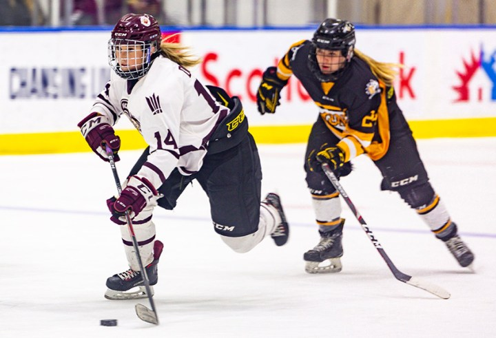Jayme Doyle and the Griffins women's hockey team will finally play in the Canada West conference on Oct. 15 when they welcome the Regina Cougars in their 2021-22 home opener (Joel Kingston photo).