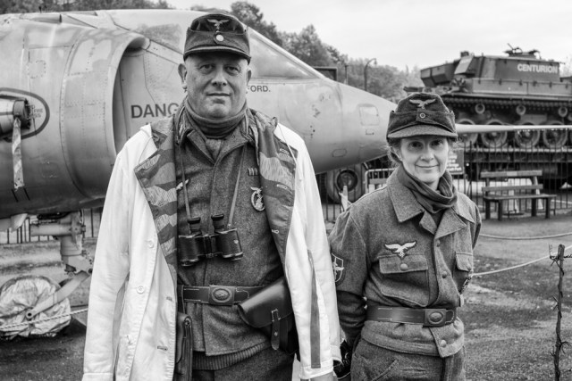 Staffing the machine gun post (Leica M-P). This duo has a collection of 1930s Leicas which they use when posing as war photographers at various events. Really.