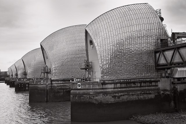 At last: The Thames Barrier as it watches over London.Photo George James