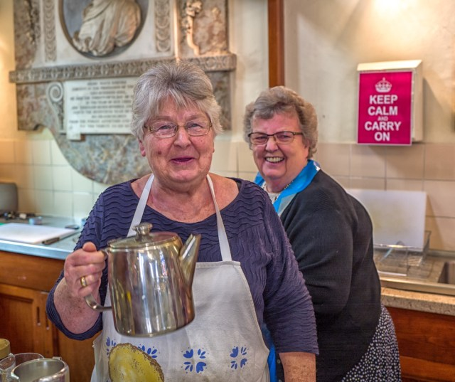 Ladies that volunteer: Wartime spirit in this York tearoom run by English Heritage in the ancient St. Crux church on Whip-Ma-Whop-Ma-Gate