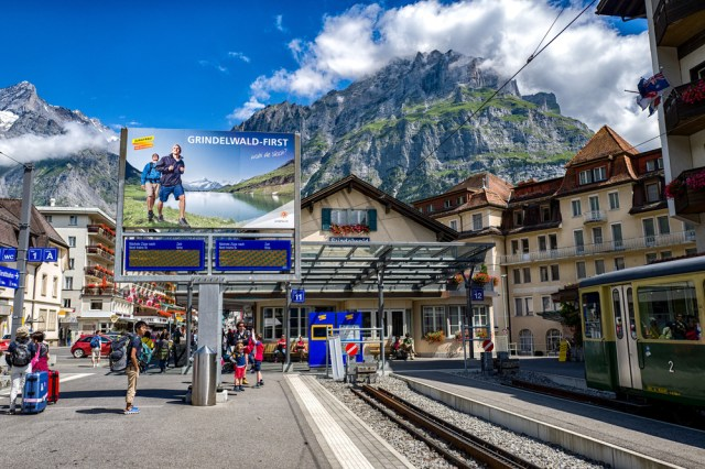 Grindelwald from the station where the Berner Oberland Bahn and the Wengernalpbahn meet