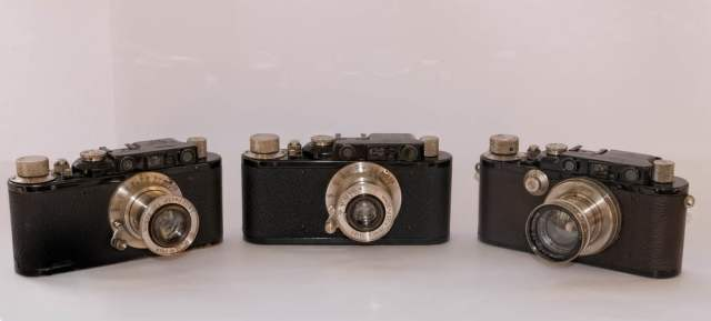These three 1930s Leicas are some of the nicest looking cameras ever produced, even prettier than the much sought-after black-paint Ms from the 1950s and 1960s. Part of William's extensive collection, they are (from left to right) a 1932 II Model D with nickel Hektor, 1932 II Model D with nickel Elmar and 1935 III Model F with nickel Summar.