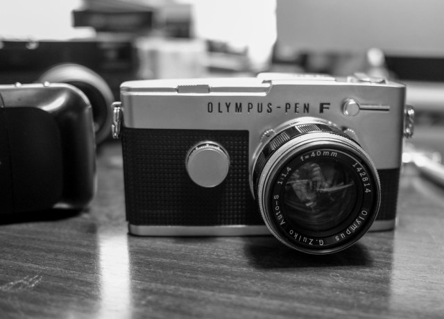 The Olympus Pen-F (this is the later, 1966 FT version with TTL exposure) was the first commercially successful half-frame camera, grabbing 72 shots on a standard roll of film. Bargains such as this often come with an interesting lens. In this case I struck lucky and got the desirable f/1.4 40mm G.Zuiko.
