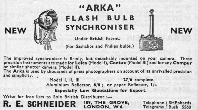 Above: [Fig.8] ARKA flash bulb synchroniser introduced 1933. Below [Fig.9]Kalart flash bulb synchroniser also introduced about 1933.