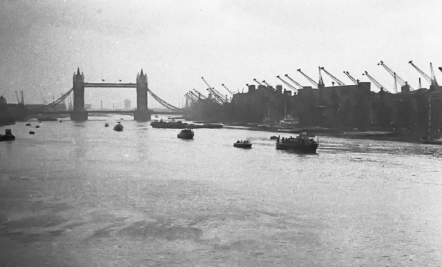 January 30, 1965, and the State Funeral barge carrying   Sir Winston Churchill