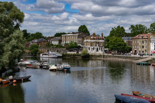 The impressive Thames riverside at Richmond with the White Cross Hotel centre stage.