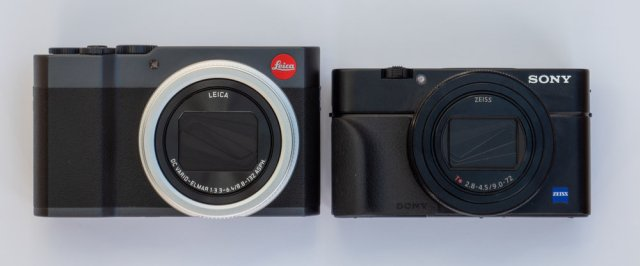 The difference in size between these two cameras is pronounced. The Sony is the true pocket camera while the C-Lux packs in more controls and near-twice-the-reach zoom lens. The difference in height is largely explained by making room for the viewfinder. On the Leica it is ready for action while the Sony relies on a pop-up affair, thus enabling a lower profile. However, the Sony is much more expensive. You pays your money and you takes your choice