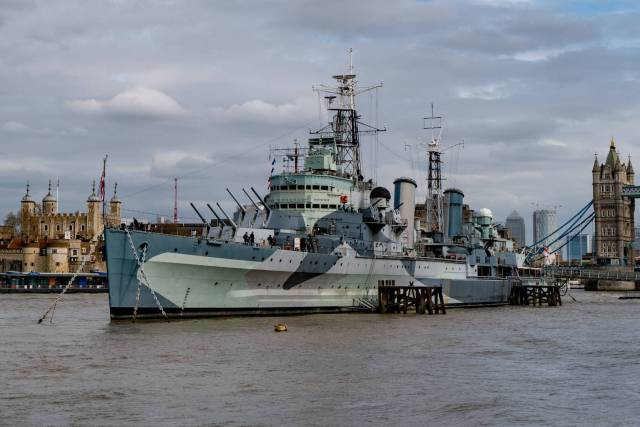 HMS Belfast flanked by the Tower of London and Tower Bridge, seen from Hay's Wharf. Just another snap from the versatile Q2