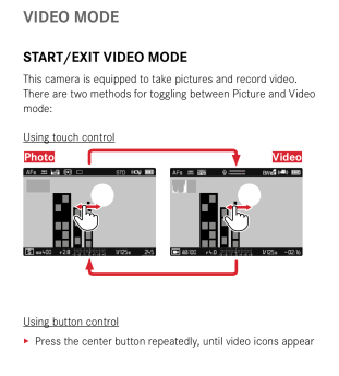 The manual confirms that the only way to start video is by using the display toggle button or by using touch control