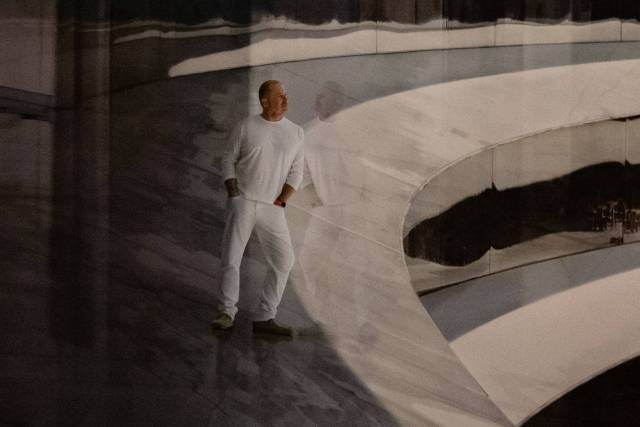 Detail of Sir Jonathan from Gursky's portrait