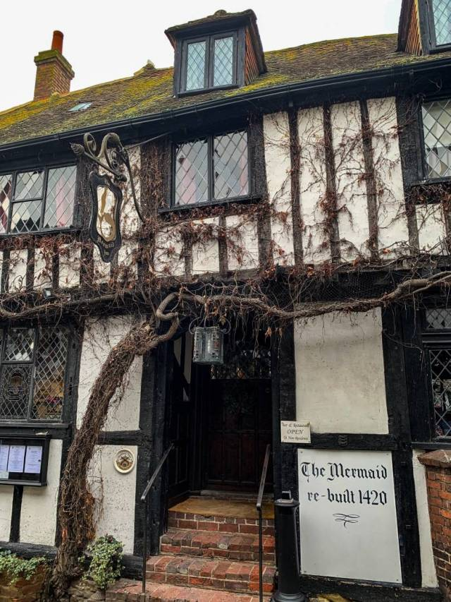 "Rebuilt in 1420 but much of the current facade owes its appearance to ""modern"" Tudor. Accommodation at The Mermaid is comfortable but rather quaint."