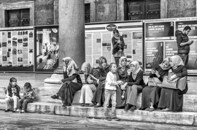 """Waiting for Their Menfolk"", Grand Mosque, Istanbul, Turkey (Leica Monochrom with 50mm Summilux)"
