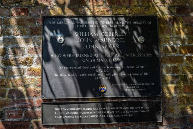 Salisbury has had its moments, as here in 1556 when three protestants were burned at the stake during the reign of Queen Mary.