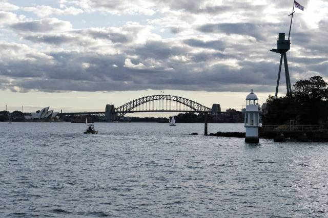 Inside the Harbour the city comes into sight