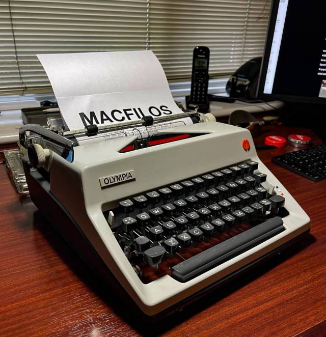 The Olympia SM8 was an in-between portable and office machine. This model, from 1970, is still in full working order and is a joy to use.