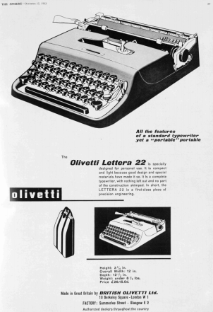 The Olivetti Lettera 22, launched 70 years ago, became one of the most popular portable typewriters. An updated version, the Lettera 32, arrived in 1963.