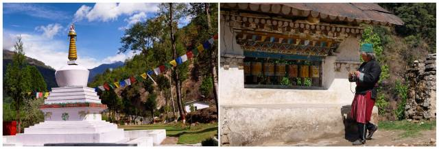 A chorten honours the soldiers who died fighting the Chinese in the Battle of Nyukmadong. Close by the side of the road a Monpa woman walks around a prayer wheel
