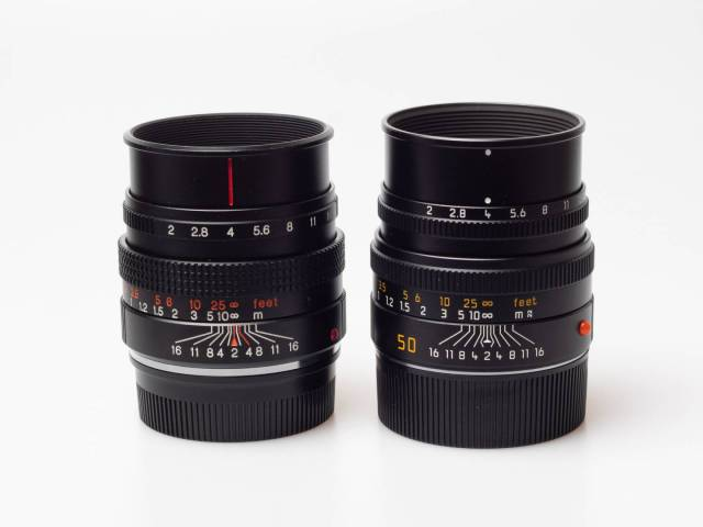 Astonishing similarities, even the slide-out hood is constructed in the same way: Konica's Hexanon-M 50/2 and Leica's 50 Summicron V5