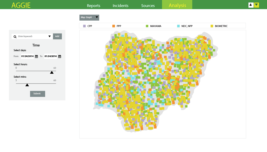 screen grab of interactive map of Nigeria with multicolored spots