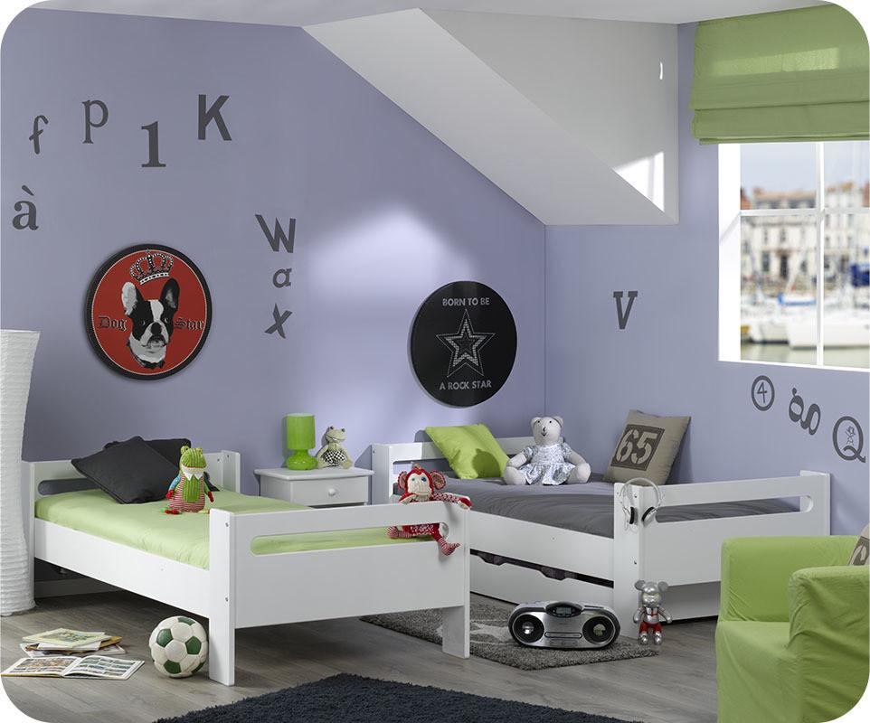 Lit Superpos Enfant Wax Blanc 90x190 Cm