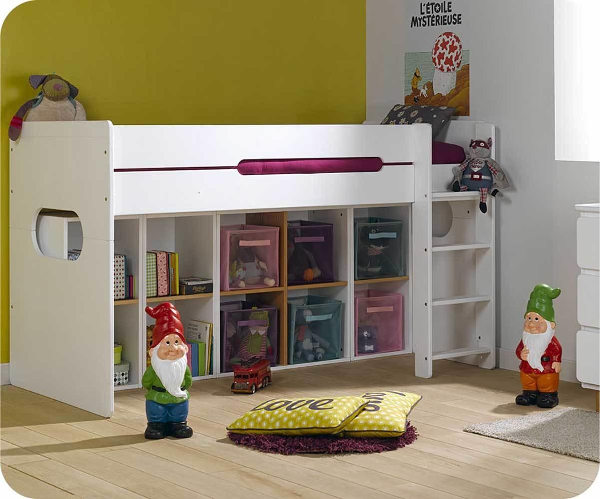 Pack Lit Enfant Mi Hauteur Spark Blanc 90x200 Cm Avec Matelas