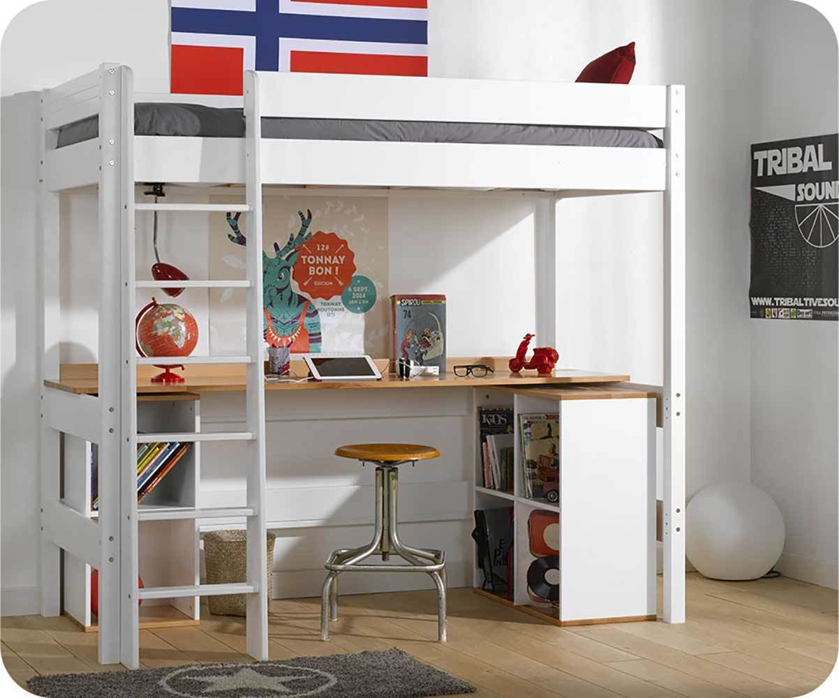 lit mezzanine enfant avec bureau clay