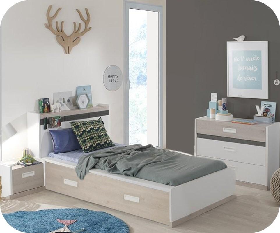 chambre enfant ileo blanche et bois set de 3 meubles avec tete de lit en