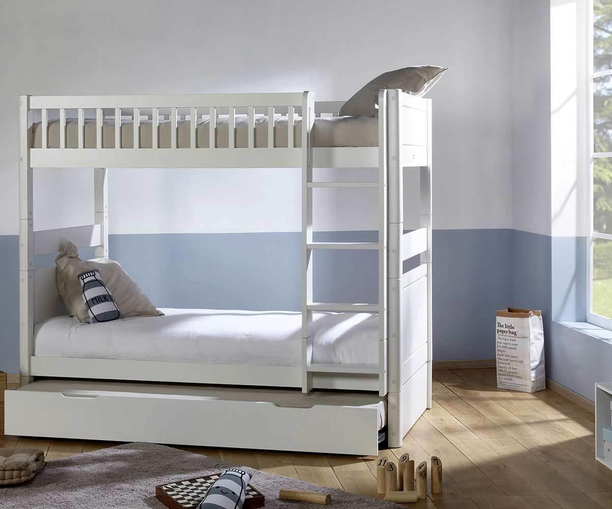 lit superpose enfant evolutif couchage haut avec sommier gigogne rio