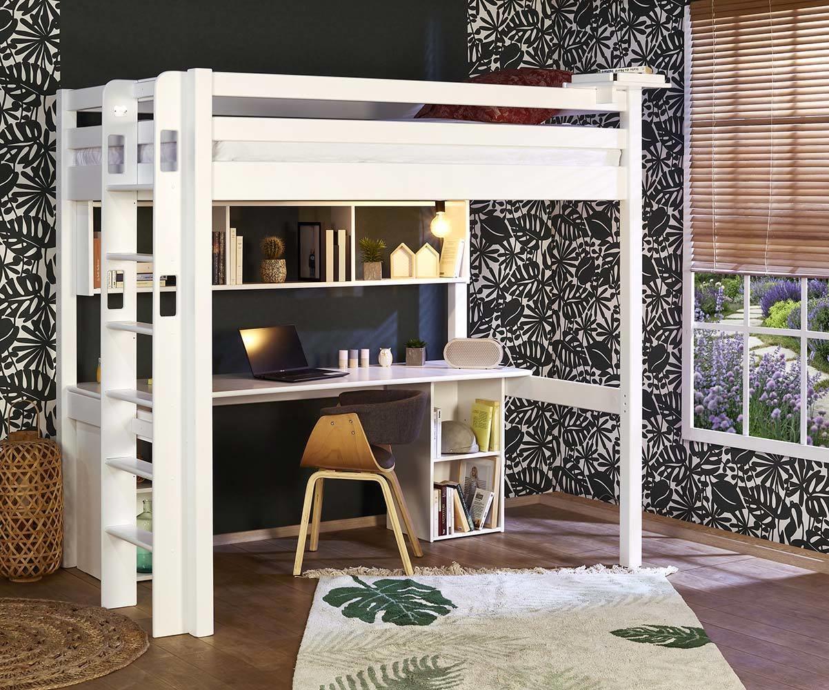 Lit Mezzanine Adulte 2 Places Avec Bureau Fynn Fabrication Francaise