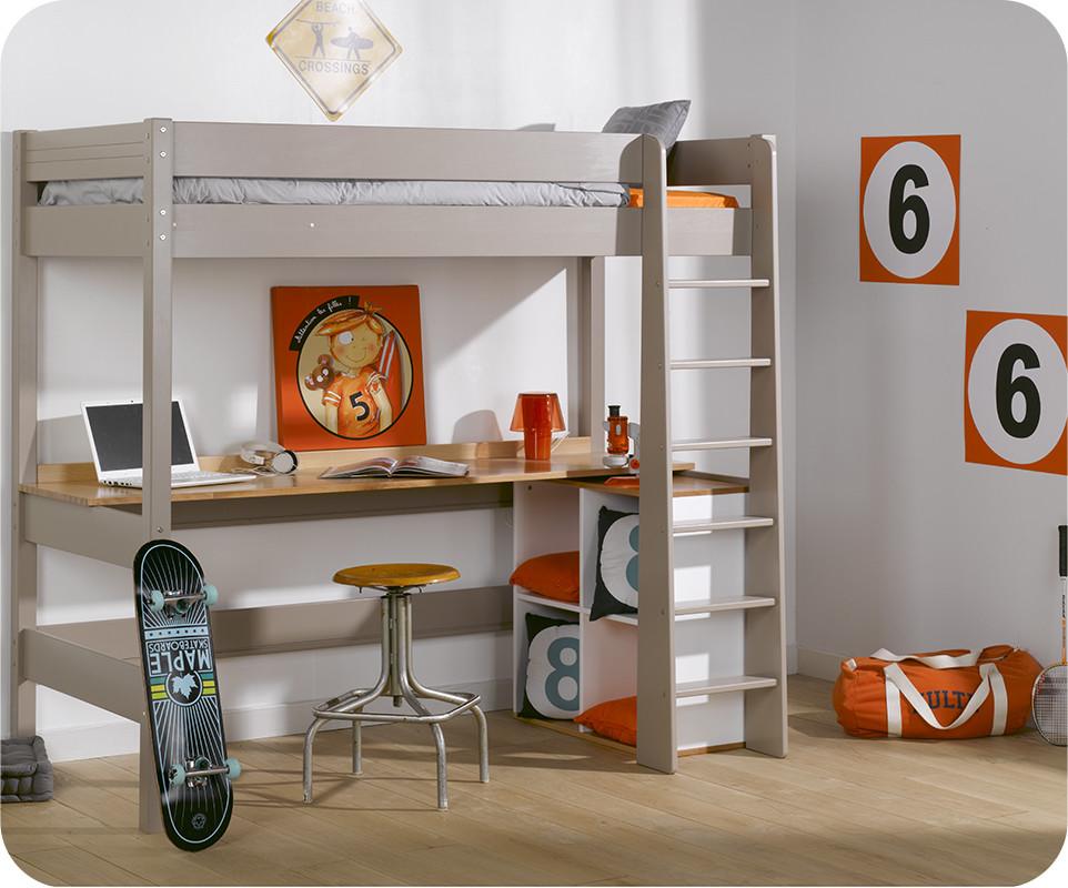 lit mezzanine clay lin avec bureau
