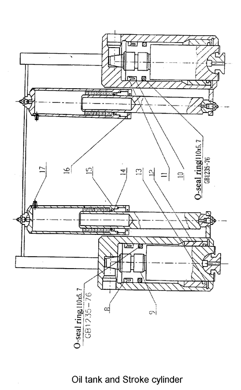 shearing machine oil tank and stroke cylinder