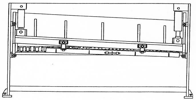 Hydraulic Guillotine Shears Drawing Rear View