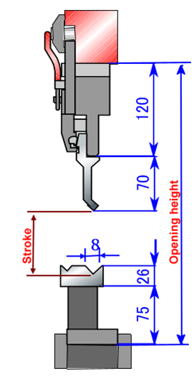Selection of the punch height