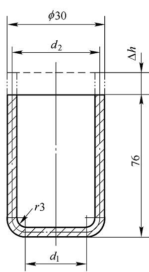 Deep drawing process calculation example