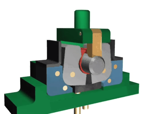 One-time bending forming die for large round pieces with swinging die