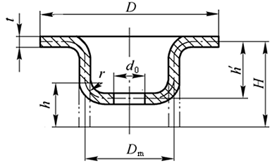 Process calculation of drawing the bottom hole first and then flanging the hole
