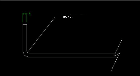 internal R angle is preferably greater than or equal to 12 of the material thickness