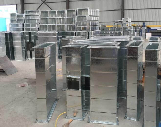 Production process of metal air duct