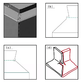 Schematic diagram of the sheet metal design of the 45 ° beveled flange interface