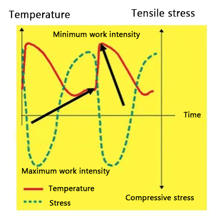 Working temperature and thermal stress distribution on the cavity surface