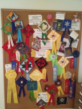 My quilting ribbons for the quilts I have put in shows to be judged.