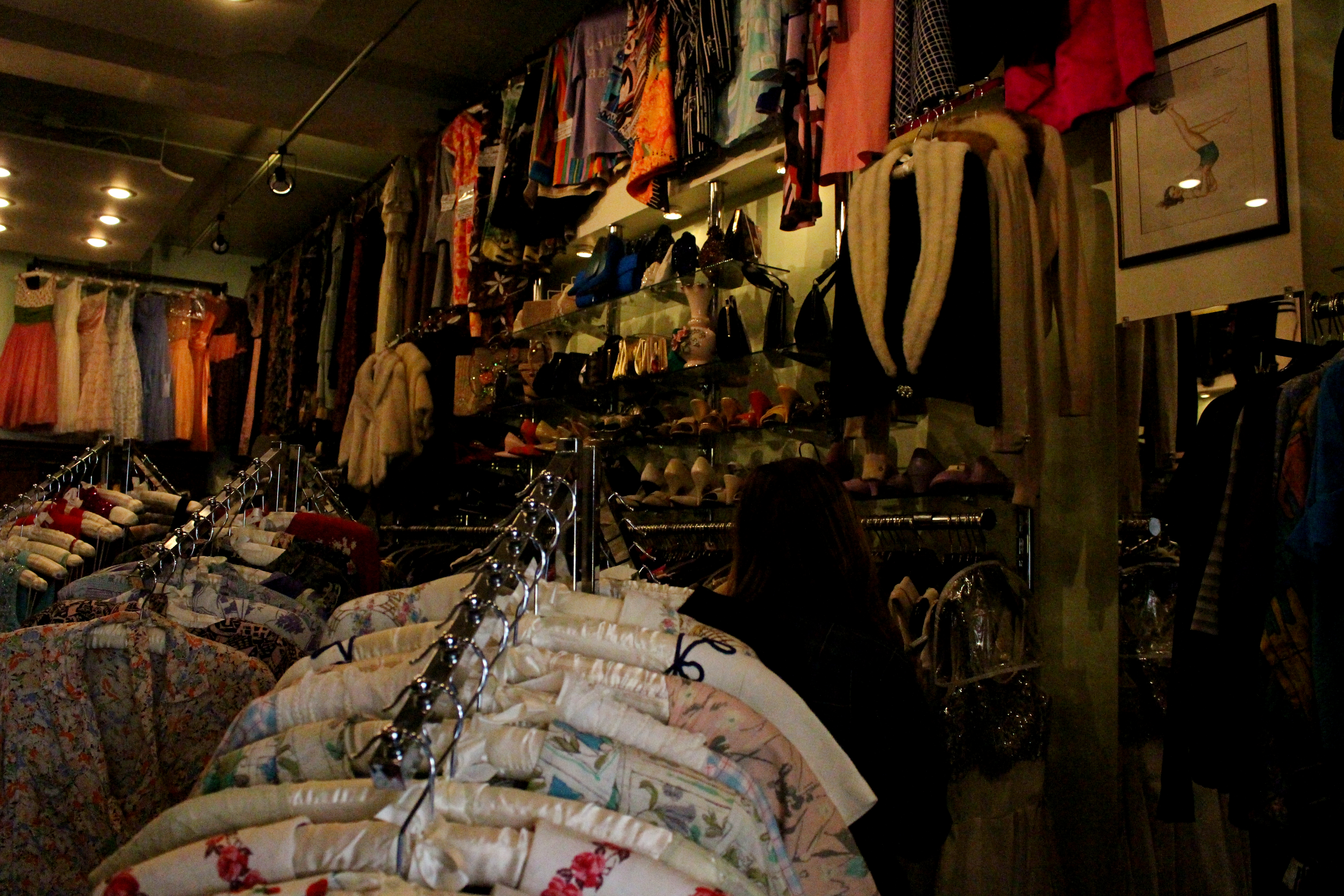 A variety of vintage clothes are offered. Credit: Fiona Belk / M-A Chronicle.