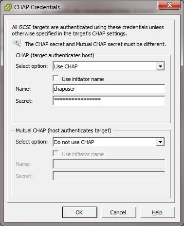 Authentification sur la Cible iSCSI