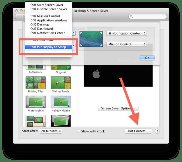 Hot corners in OS X