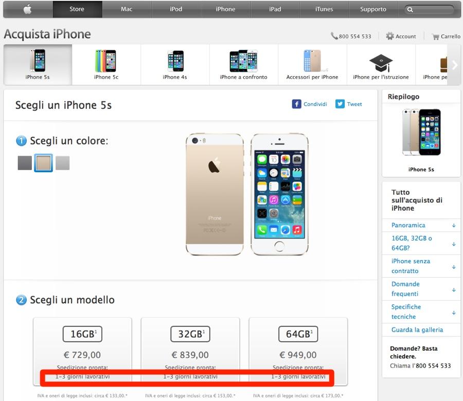 iphone 5s 1-3 giorni 900