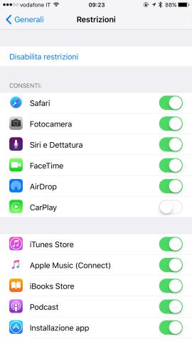 Password restrizioni iOS