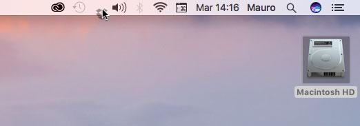 In macOS Sierra è possiible riposizionare a piacere qualsiasi icona nella barra dei menu