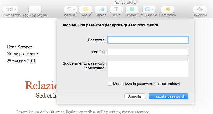 Impostare una password in Pages