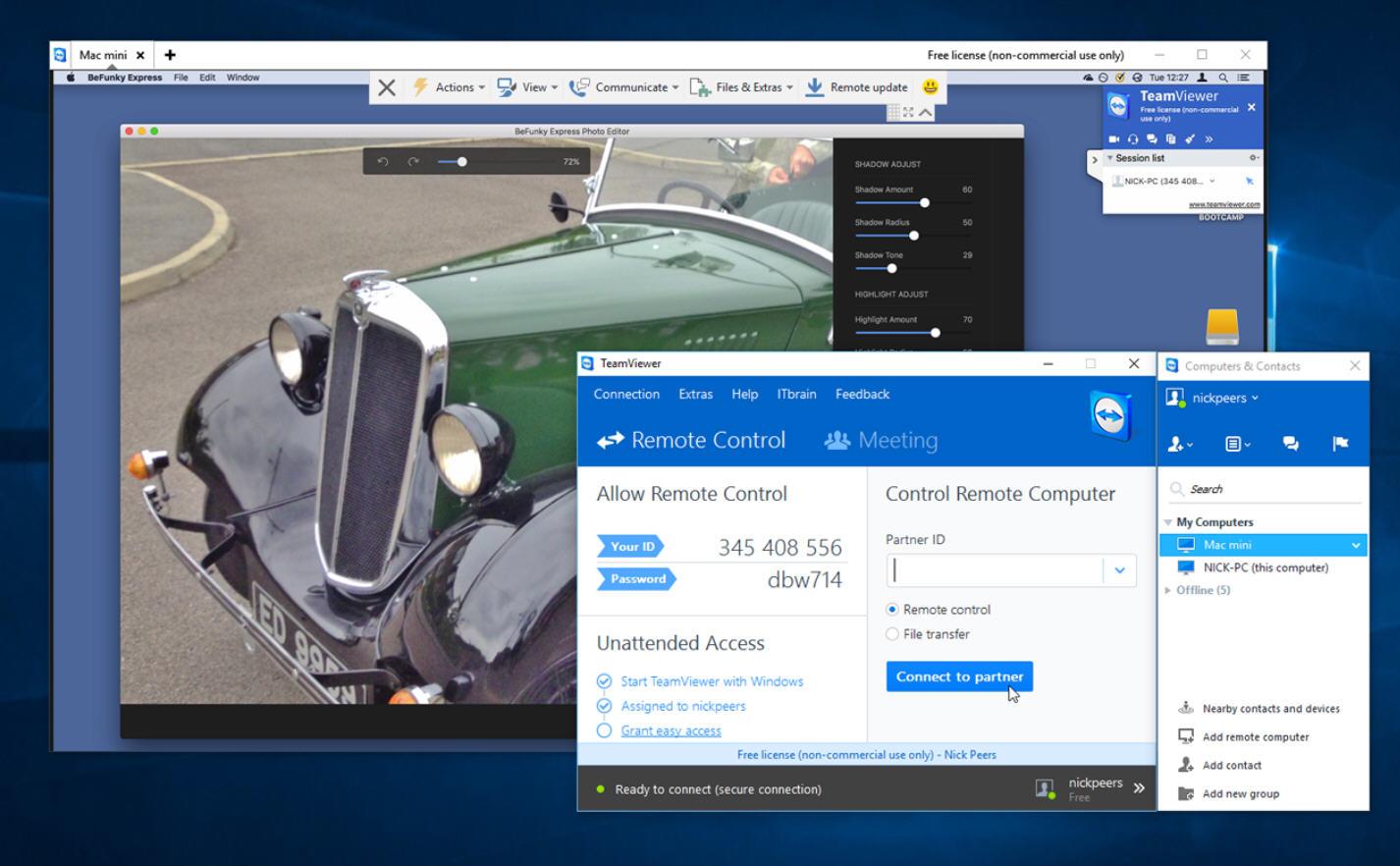 Una schermata di Teamviewer 11