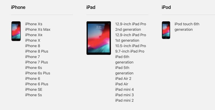 Compatibilità iOS 12